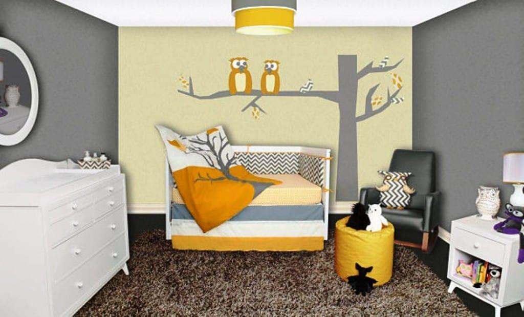 Wandtattoo Kinderzimmer Baum Und Eule Für Wanddeko Babyzimmer Von