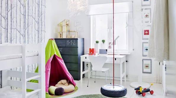 wohmideen kinderzimmer mit rundem teppich gr n und diy schaukel aus autoreife freshouse. Black Bedroom Furniture Sets. Home Design Ideas