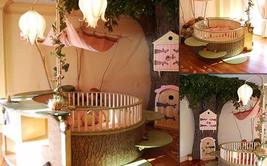 Wohnideen Kinderzimmer Mit Rundem Kinderzimmer Bett Und Wandgestaltung Mit  Baum