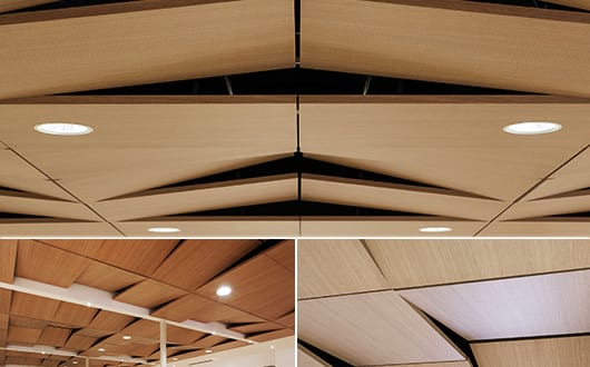 Deckengestaltung-mit-Schallschutzpaneelen-aus-Holz-der-Kollektion-TECTONIQUE-5.5–von-Oberflex