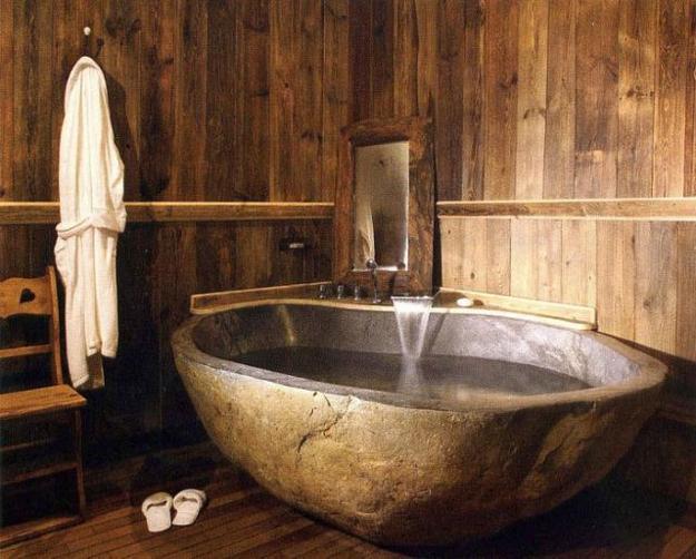 badezimmer holy mit freistehender badewanne aus stein - fresHouse