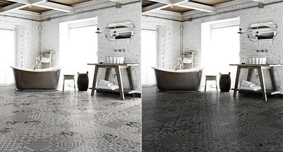 badezimmer-rustikal-mit-weißen-Ziegelwänden-und ...