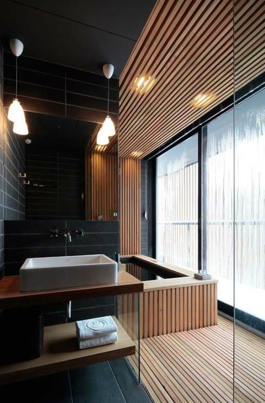 cooles interior design mit holz und naturstein für modernes ...