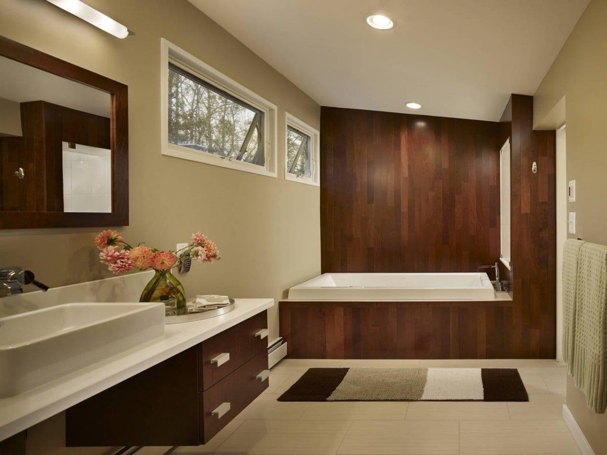 Luxus Badezimmer Holz Mit Wandfarbe Beige