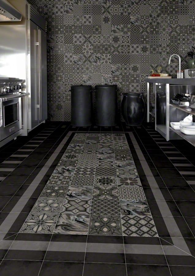 Gut bekannt moderne Küche in schwarz einrichten mit schwarzen bodenfliesen mit BX39