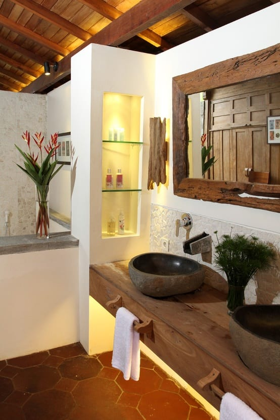 Moderne Rustikale Badezimmer Einrichtung Mit Unterwaschtisch Regal Aus Holz Und Waschbecken Aus Stein Freshouse