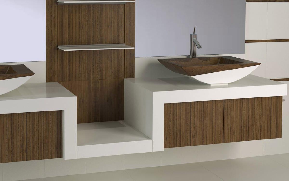modernes badezimmer mit holzakzent freshouse. Black Bedroom Furniture Sets. Home Design Ideas
