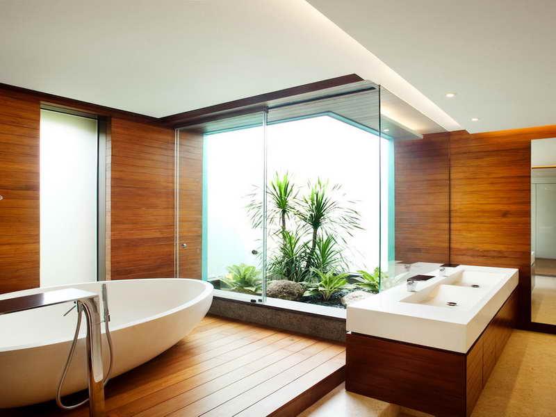 modernes japanisches badezimmer holz mit hofgarten - fresHouse