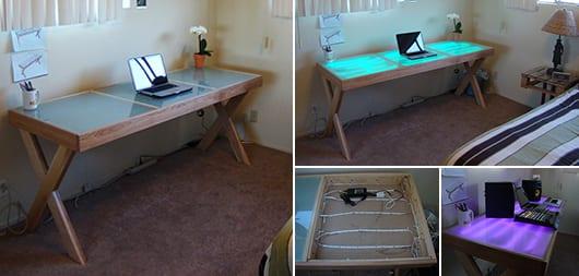 Schreibtisch selber bauen  schreibtisch mit beleuchtung selber bauen - fresHouse