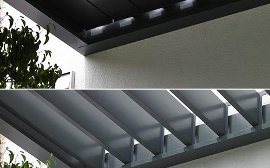 terrasse-ideen-für-beschttung-terrasse-mit-Terrassenüberdachung-aus-Lamellen