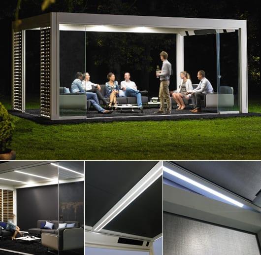 Terrassengestaltung Mit Moderner Terrassenuberdachung Und Led
