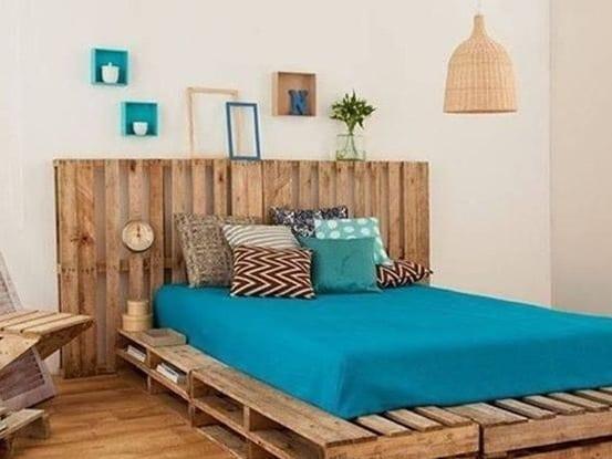 wohnideen schlafzimmer mit bett aus paletten selber bauen - fresHouse