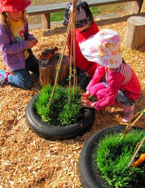 Diy Garten Mit Autoreifen Als Idee Für Kinderspiele Und