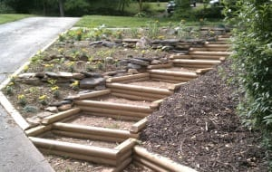 kreative ideen für DIY Holztreppe für den garten