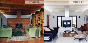 Renovieren-durch-Streichen_wohnzimmer-mit-Kamin-aus-Ziegeln-und-Holzdecke-umgestalten