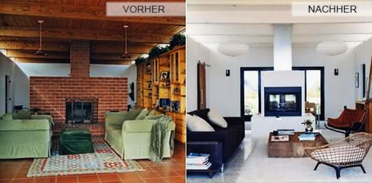 Hochwertig Renovieren Durch Streichen Wohnzimmer Mit Kamin Aus Ziegeln Und