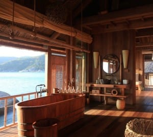 badezimmerideen für modernes badezimmer holz im freien mit badewanne holz
