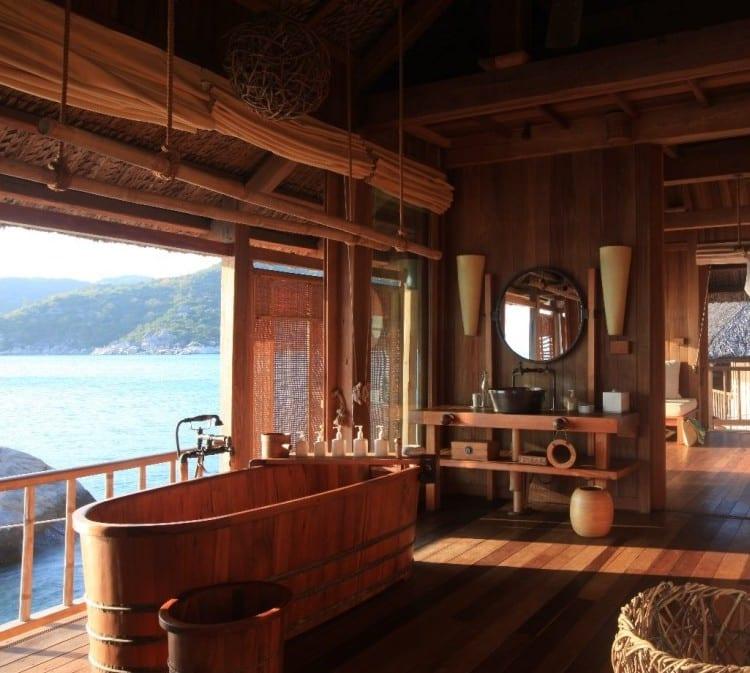 badezimmerideen für modernes badezimmer holz im freien mit badewanne ...
