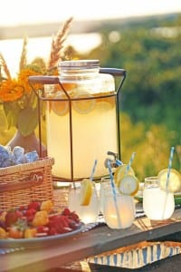 coole gartenparty ideen für tischdeko mit limonade