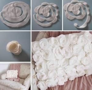 coole idee für kissenbetzung aus DIY rosen selber nähen
