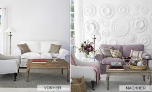 coole-idee-zum-Renovieren-mit-Rosetten-als-Wanddekoration-für-modernes-Wohnzimmer