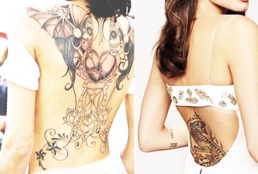 zebra tattoo motiv und weiblichen totenköpfe mit rosen und herförmigem Vorhängeschloss als coole tattoo ideen für frauen