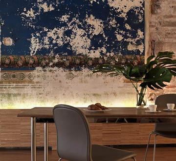 Ideen Fur Wohnungsrenovierung Und Rustikale Wandgestaltung Im Wohn Esszimmer Mit Esstisch Holz