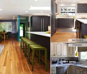 küche-modern-renovieren-mit-kochinsel-schwarz-und-Barhocker-grün