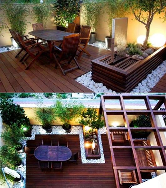 Kleines wohnzimmer im kleinen hofgarten mit holzterrasse und gartenbrunnen gestalten freshouse - Wohnzimmer gestalten ...