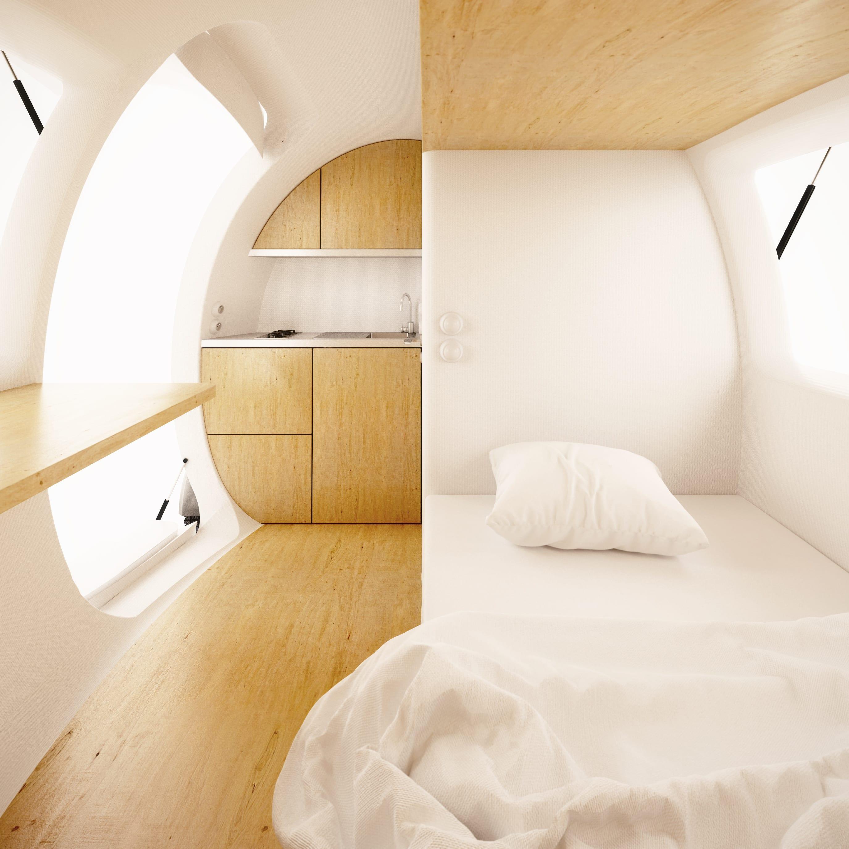 Geräumig Betten Für Kleine Zimmer Dekoration Von Kleines Mit Bett Und Küchenzeile