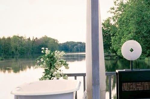 luxus badewanne weiß als terrassengestaltung
