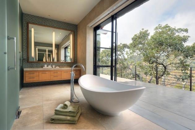 moderne badezimmer inspiration mit freistehender badewanne ...