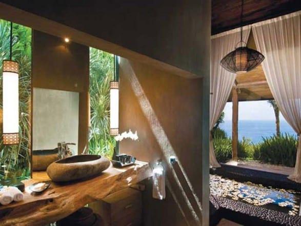 modernes badezimmer mit badezimmer waschtisch holz und ...