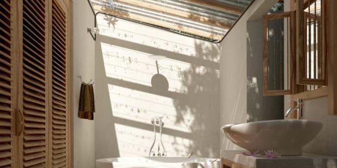 Modernes Kleines Badezimmer Mit Dachschrage Und Glasdach Freshouse