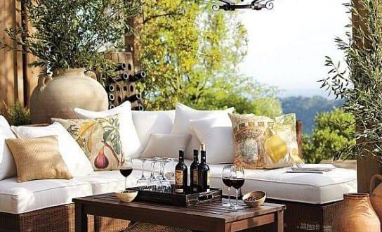 modernes wohnzimmer auf die terrasse gestalten mit couchtisch holz ...
