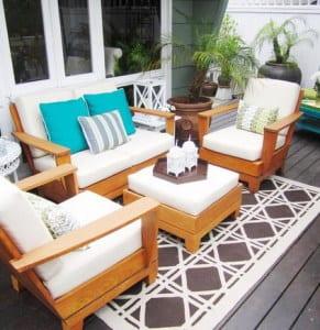 modernes wohnzimmer draußen als terrassengestaltung