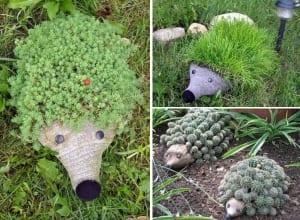 schöne gartenidee mit DIY Gartendeko aus PET-Flaschen