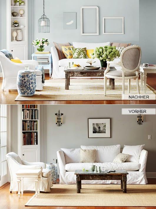 zimmer renovieren durch wand streichen in hellblau und wandgestaltung mit wei en bilderrahmen. Black Bedroom Furniture Sets. Home Design Ideas