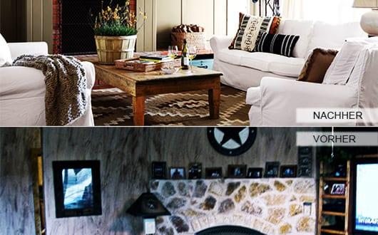 zimmer-renovieren-ideen_kleines-wohnzimmer-mit-kamin-aus-naturstein-mit-Holz-verkleiden-und-in-braun-streichen