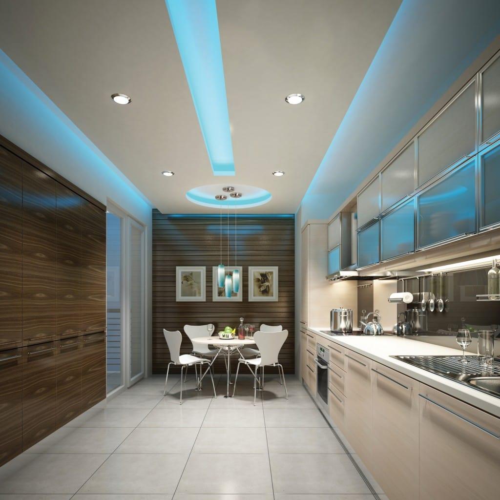 Indirekte Deckenbeleuchtung coole idee für indirekte deckenbeleuchtung in blau für moderne küche