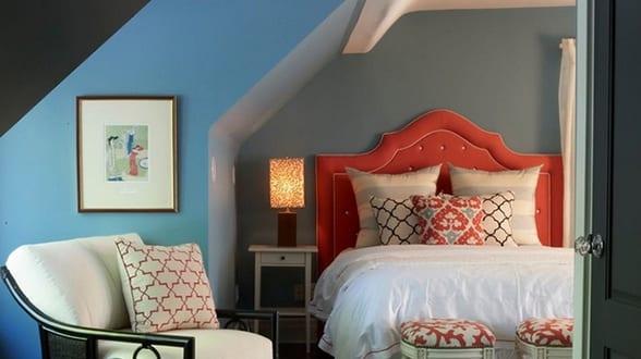 Gemütliches Schlafzimmer Blau Als Idee Für Modernes Schlafzimmer Dachschräge