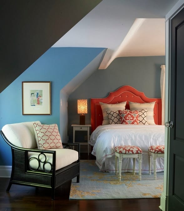 Gut Gemütliches Schlafzimmer Blau Als Idee Für Modernes Schlafzimmer Dachschräge