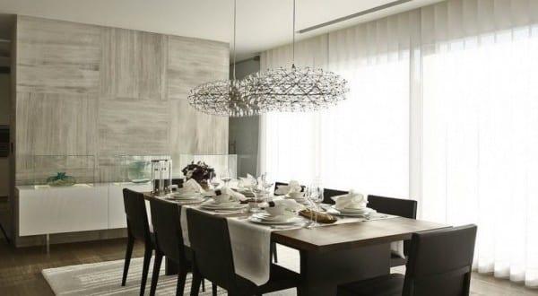 interior design esszimmer mit eichenholzboden und wandverkleidung mit marmorfliesen grau freshouse. Black Bedroom Furniture Sets. Home Design Ideas