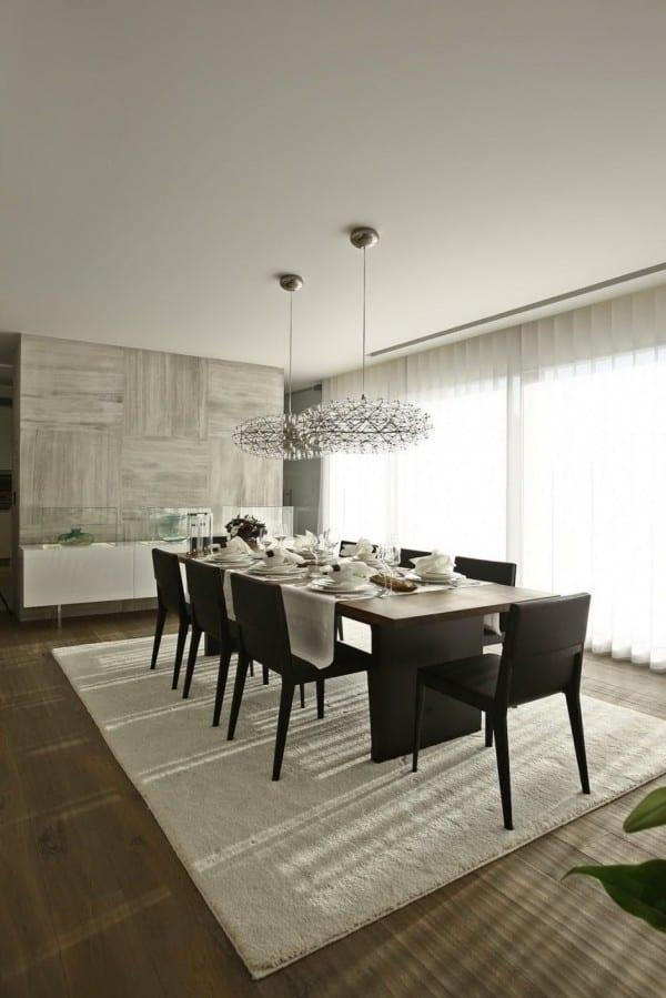 Interior Design Esszimmer Mit Eichenholzboden Und Wandverkleidung