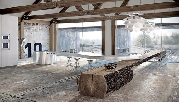 kochinsel sonderform aus inox für luxus küche - fresHouse