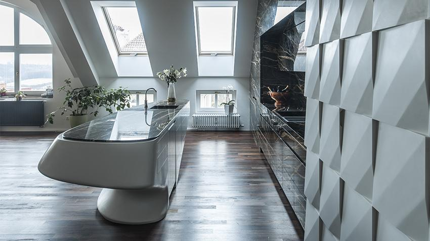 marmor k che mit kochinsel freshouse. Black Bedroom Furniture Sets. Home Design Ideas