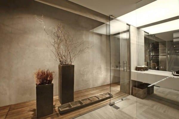 Moderne Architektur Und Interieur Mit Fussboden Aus Holz Marmotplatten Grau