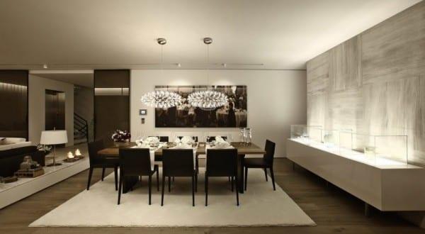 Moderne Architektur Und Schickes Interieur Für Moderne Wohn Esszimmer Mit  Holzfußboden Und Marmorwand Grau