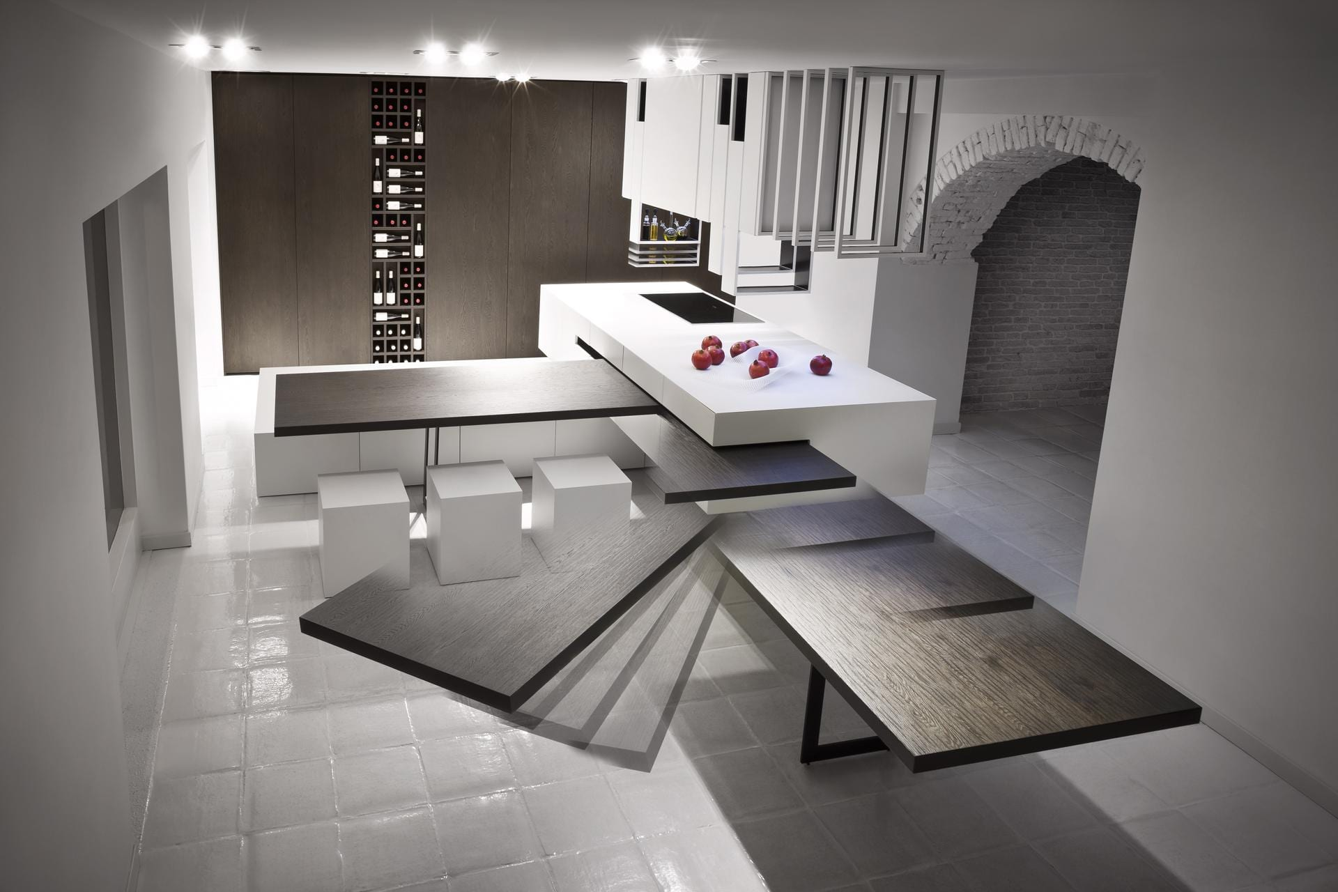 moderne k che wei mit kochinsel und mobiler. Black Bedroom Furniture Sets. Home Design Ideas