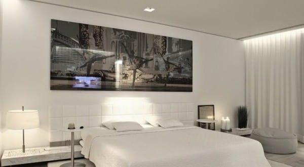 moderne schlafzimmer einrichtung mit king size bett weiß und ...